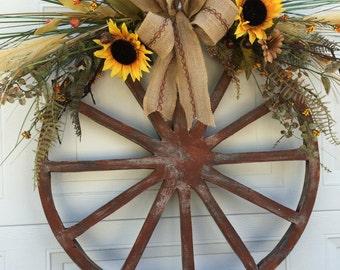 Wagon Wheel Wreath Etsy