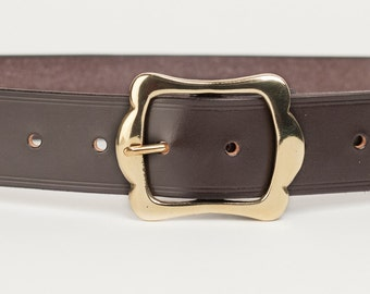 Dark Brown Bridle Leather Belt with 1.5 inch Scallop Buckle
