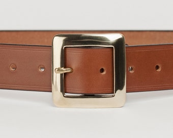 Mid Brown Bridle Leather Belt with 1.5 inch Square Buckle