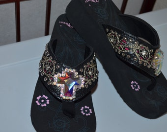 Black Flip Flops with White/Hot Pink Stitching and Bling