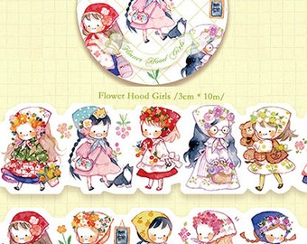 1 Roll of Limited Edition Irregular Washi Tape- Flower Hoods Girls