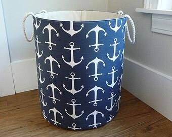 "Extra Large Hamper, Fabric Storage Laundry Basket, Premier Prints Sailor Navy Organizer, Toy or Nursery Basket, Storage Bin - 20"" Tall"
