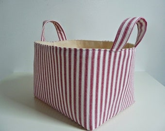 Fabric Storage Basket Organizer - Classic Ticking Stripe in Red & Natural - Gift Basket/Hostess Gift - Your Choice of Size