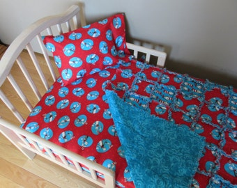 CAT in the HAT Crib Bedding Toddler Bed Dr SEUSS Fabric Rag Quilt Set Large Rag Quilt Sheet &  Pillow Case