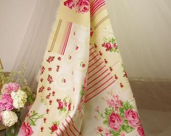 nice flowers and stripes fabric 80 cm H x235 cm width