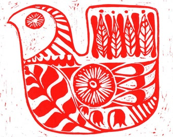 "Hand printed Lino Block Print ""Soul Bird"""