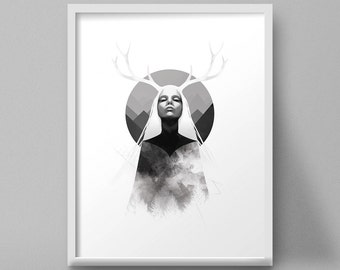 Female Portrait Art Print Antlers Painting Nature Mountains Black and White