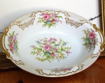 Noritake Kyngold China Serving Bowl - Vegetable Plate - Gold Rim Pink Flowers - Japan 317  NYN Gold Vintage