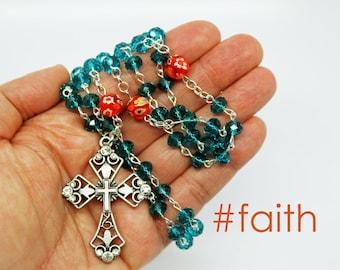 Contemporary Handmade Rosary--Rosary Beads--Spiritual--Catholic--Baptism Gift--Boho--Prayer--Hippie--Cerulean Blue--Orange--Confirmation