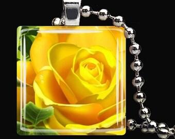 15% OFF AUGUST SALE : Yellow Rose Spring Flower Garden Glass Tile Pendant Necklace Keyring