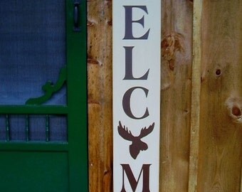 Wood Sign, Vertical Welcome With Moose, Deer, Bear Silhouettes, Welcome Sign