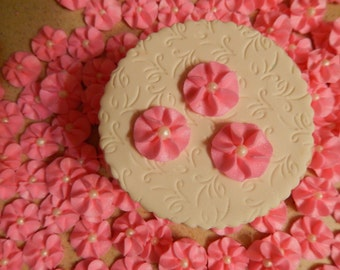 100 Pink Royal Icing Drop Flowers Edible for cupcakes , cakes, cookies, cakepops