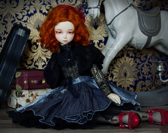 Silver Moon OOAK handmade dress set for bjd dollfie msd doll size clothing clothes vintage victorian style