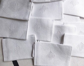 12 French damask linen napkins and tablecloth, 12 french damask linen napkins, 12 french napkins, tablecloth