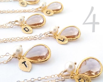 4 Champagne Bridesmaid Necklaces - Initial Necklaces with Pearl on 14K Gold Filled Chain - Set of 3 - Bridesmaids Sets Gifts Wedding Jewelry