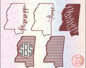 Mississippi State Outline and Chevron Monogram Frame SVG Files-Multiple Formats