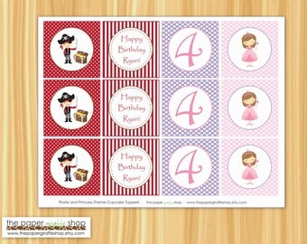 Pirate and Princess Cupcake Toppers | Pirate and Princess Birthday Party | Pirate and Princess Party | Boy Pirate and Pink Princess Party