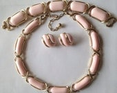 Vintage Trifari Parure ~ Pink Thermoset ~ Necklace Bracelet Earrings ~ Mid Century Mod Retro