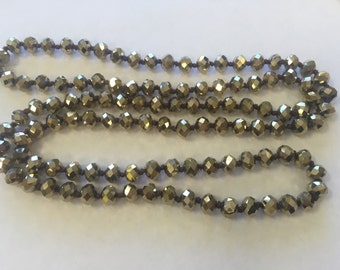"""8mm rondelle crystal knotted necklace , around 35"""", 1 pc,metallic gold"""
