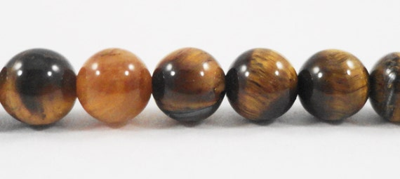 """15"""" Strand Tiger Eye Beads 6mm Round Smooth Tiger's Eye Stone Beads, Natural Brown Gemstone Beads on a Full 15 Inch Strand with 62 Beads"""