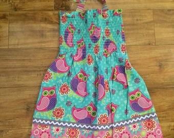 Owl Smocked Dress~3T