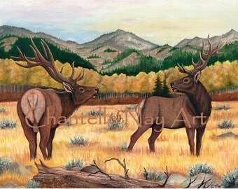 Bull elk. Elk in the meadow.  Wildlife art.  Elk print. Elk art. Elk Painting. Fall scene