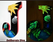 Outer Space Adventure -Large Letter Hand painted scene with customized details and glow-in-the-dark accents.