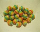 """Rainbow Brite Handmade Paper Beads 1/2"""": Set of 20"""