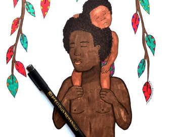African Father & Child | Father's Day Series | 9x12 Print