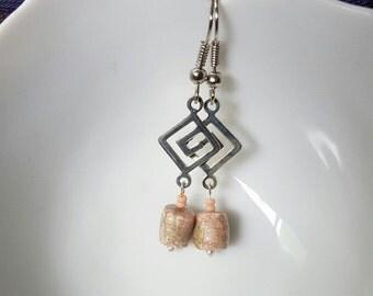 Dusty Rose clay bead earrings