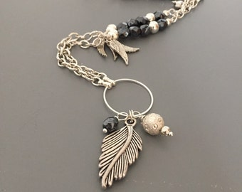 Long Feather Necklace, Layered Nacklace, Feather Necklace, Charm Necklace, Wings Necklace, Heart Necklace, Long Beaded Necklace, Charms