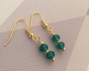 Green Earrings - Gold Earrings, Bead Earrings, Green, Crystal, Hook Earrings, Drop Earrings, Green Jewellery, Handmade UK, SLJewellery