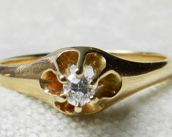 Antique Engagement Ring, Old European Cut Diamond Victorian Buttercup Setting Transitional Cut Diamond Ring 14K Gold