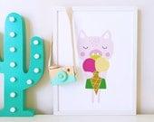 Nursery decor, nursery art, Kids room art print, nursery poster, girls room decor, animal art print, pig poster