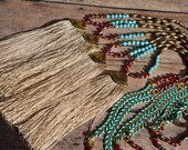 Boho Tassel Necklace, Turquoise, Crystal, Camel Tassel, Long Necklace