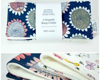 "Set of 2 Organic Burp Cloths, Drool Pad, Burp Cloth, Sunflowers, butterflies, dragonflies, bees, soft organic cotton flannel, 8""x17""  gift"