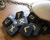 Rune set.  Stone Runes. Silver and dark Serpentine  Elder Futhark runes