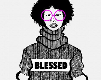 Vee - Art - Natural Hair - Illustration - Postcard - Black Art - Black Girl - Afro - Afro Art - Fashion Illustration - Art Print