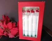 Vintage Christmas Stocking Handmade Glass Drink Stirrers Towle Set of 4 in Original Box Holiday Barware Drink Stirrers