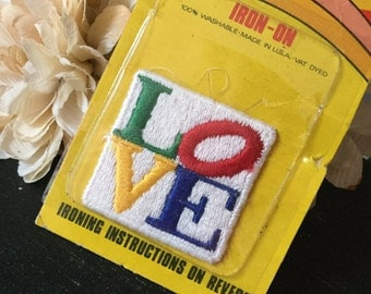 Vintage LOVE  Patch Iconic Deadstock NOS  NIP  Primary Colors  Slanted O 1970's 70's RaRE  Iron On