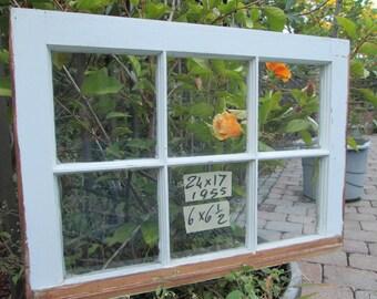 24 x 17 Vintage Window sash  6 pane  from 1955