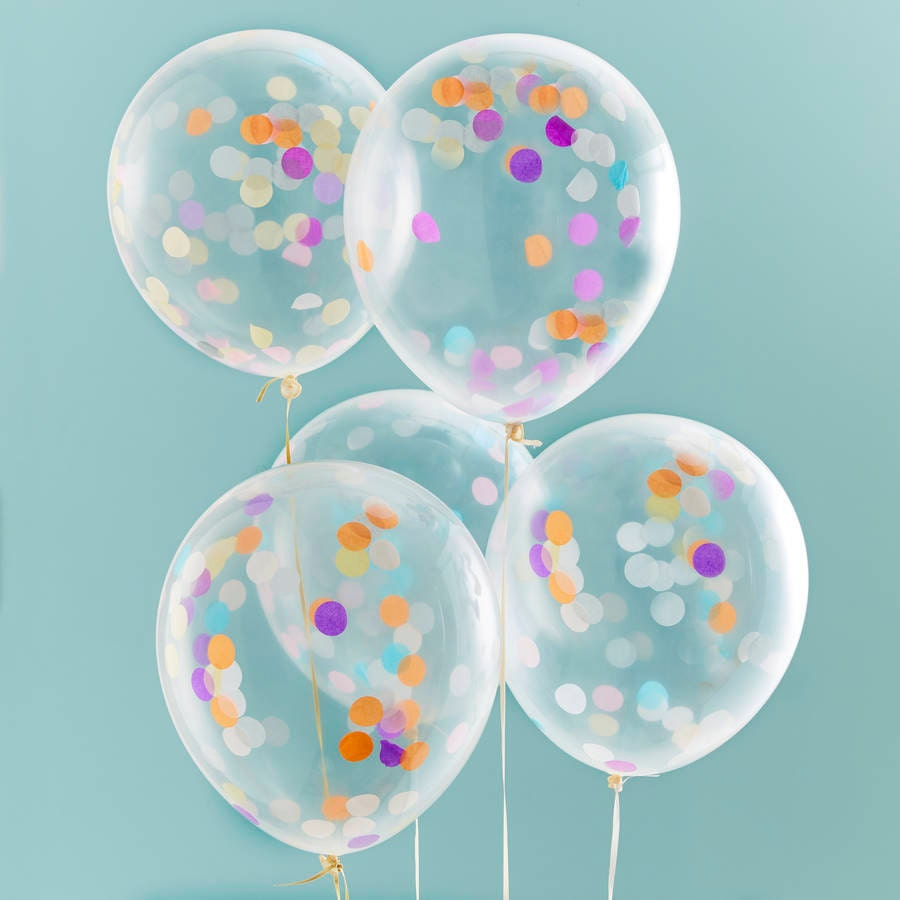 Confetti balloons x5 1st birthday party decor balloons for Balloon decoration for engagement party