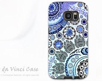 Blue Paisley Galaxy S7 EDGE Case - Premium Dual Layer Galaxy S 7 EDGE Case with Floral Art - Blue Mehndi - Samsung Galaxy S7 Case