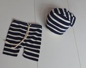 Ready to ship Newborn shorts and slouchy hat set - newborn photo prop navy with creamy stripes