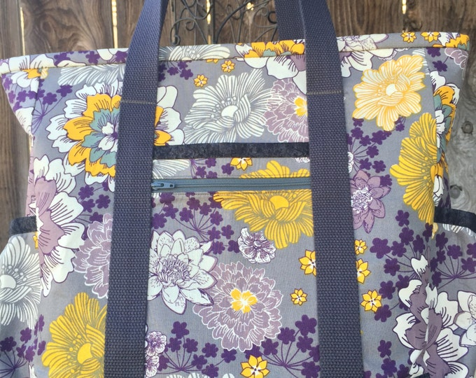 Nurse Tote, Tote Bag with Zipper, Teacher Tote, Large Tote Bag with Pockets, Work Tote, Professional Tote, Travel Bag, Purple and Grey Tote