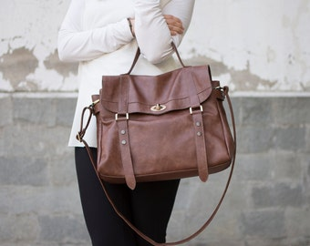 Messenger bag leather - Leather satchel - Women satchel laptop bag -  Leather briefcase - VINTAGE  look - MELINA bag