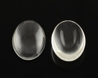 Clear Glass Cabochons Oval Cabochons 25x18 Glass Flatbacks Bulk Cabochons Wholesale Findings Cabochon-50pcs PREORDER