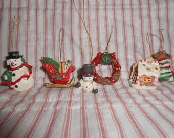 Six Vintage Mini Christmas Ornaments #1