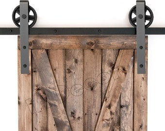 Barn Door Hardware Sliding Kit (no rail option) Spoked Wheel BEST ON ETSY! See Why.