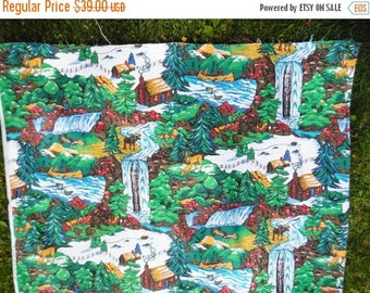 ON SALE Vintage Rustic Cabin Themed Fabric by Princess Fabric Inc. Native American Indians with Fur Trader,  Bears, Eagles, Moose, Deer